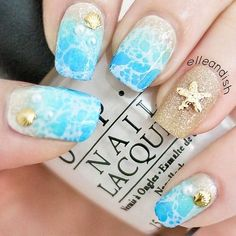 Celadon color nails, Marine nails, Nails with gold, Nautical nails, Sandy nails, Sea nails, Summer nails 2016, Vacation nails