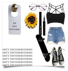 """""""She's Thunderstorms"""" by xlilphan on Polyvore featuring WithChic, River Island, Converse and Giorgio Armani"""
