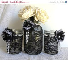 ON SALE black lace mason jars  black and white lace by PinKyJubb