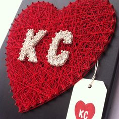 READY to SHIP: KC Heart String Art kc Love by JOCoriginalcreations String Art, Crafty, Christmas Ornaments, Holiday Decor, Birthday, Unique Jewelry, Handmade Gifts, Diy, Cords