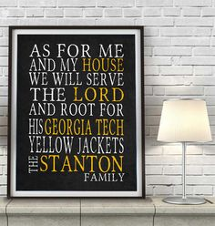"""Georgia Tech Yellow Jackets inspired Customized Art Print- """"As for Me"""" Parody- Unframed Print"""