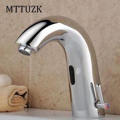 MTTUZK Brass Deck Mounted Bathroom Sink Automatic Hot&Cold Sensor Mixer Touch Free Sensor Faucet Automatic Hands Free Sensor Tap #Affiliate