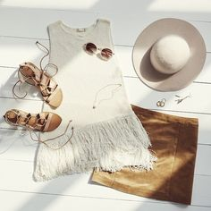 Brown/Tan suede skirt and fringe sleeveless knit top. The hat is a bonus ;) | TheyAllHateUs