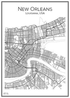 Hand drawn city map of New Orleans in USA. Here you can order a city map of your city and other Swedish as well as foreign cities. New Orleans Map, New Orleans Louisiana, Louisiana Usa, Urban Mapping, Usa Travel Map, Vintage Maps, Antique Maps, Line Illustration, Stickers