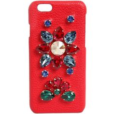 Dolce & Gabbana Women Crystals Embellished Iphone 6 Case (2,695 ILS) ❤ liked on Polyvore featuring accessories, tech accessories and red