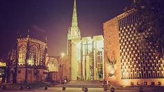 The city of Coventry, England by night. Study at Coventry University with KILROY #architecture #night #city #buildings #church