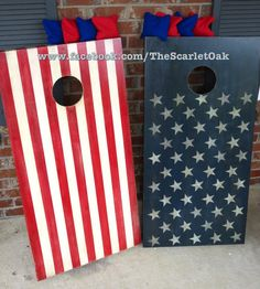 Patriotic American Flag themed cornhole boards. Distressed, rustic, hand painted. www.facebook.com/TheScarletOak or www.Etsy.com/shop/TheScarletOak for more.
