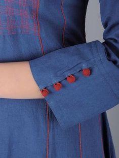 Indigo Red Embroidered Checkered Natural Dyed Flared Cotton Dress Women Dresses Silhouettes for the Season Kalamkari and Ajrakh print Salwar Neck Designs, Kurta Neck Design, Neck Designs For Suits, Sleeves Designs For Dresses, Kurta Designs Women, Dress Neck Designs, Sleeve Designs, Blouse Designs, Kurta Patterns