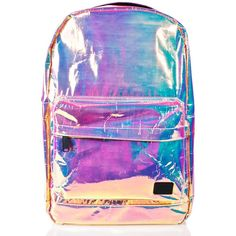 Spiral UK Holographic OG Backpack (£44) ❤ liked on Polyvore featuring bags, backpacks, accessories, top handle bags, backpack bags, padded bag, daypack bag and hologram backpack