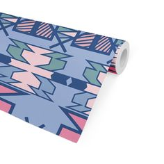 AZTEC BLUE Peel and Stick Wallpaper By Terri Ellis - 2ft x 16ft