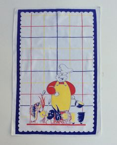 Vintage Towel Tom Lamb Chef Leads Anthro Veggie by unclebunkstrunk