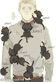 Johnlock <3. I love how one of the Sherkitties is going down Jawn's pants