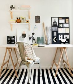 A striped rug will add an extra bit of personality to your workspace.
