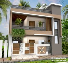 Exterior designs by divine architects Modern Exterior House Designs, Modern House Plans, Exterior Design, Duplex House Design, House Front Design, House Elevation, Front Elevation, Simple False Ceiling Design, Pooja Room Door Design