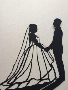 Custom Hand Cut Wedding Silhouette Art – Silhouettes by Elle