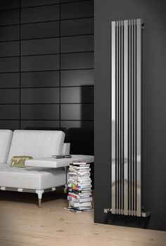 Karia Vertical Designer Radiator Reina Size: 180 cm H x 43 cm W Wall Heater Cover, Tall Cabinet Storage, Stainless Steel Bathroom Accessories, Amazing Bathrooms, Vertical Radiators, Bathroom Radiators