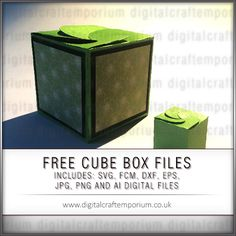 Create a simple-to-make one inch cube box with this FREE template set. The box features a flap closure which holds shut on it's own or can be stuck down if desired.  Files are supplied with or without score lines.  Files types included are:   	SVG. 	FCM - Brother S