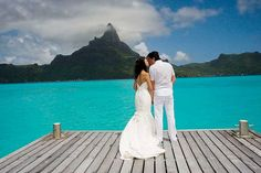 A Bora Bora wedding #startlemenow #startle #forbestravelguide -- Call (310) 882-5039 if you are looking for California wedding officiants. https://OfficiantGuy.com