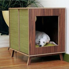 Midcentury Modern Dog Furniture, Medium by Modernist Cat modern pet accessories. Part dog house, part side table. Modern Pet Supplies, Dog Supplies, Dog Crate Furniture, House Furniture, Furniture Ideas, Animal Gato, Cool Dog Houses, Houses Houses, Diy Dog Bed