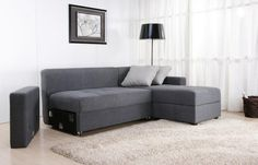 Contemporary Sofa Beds and the Luxurious Life : Fascinating Contemporary Sofa Beds Called Sutton Convertible Sectional Sofa Bed Also Gray Cushions Balck Floor Lamp Also Beige Fur Rug And Blonde Laminate Floor