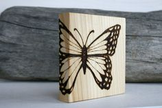 Butterfly- Art Block - Woodburning