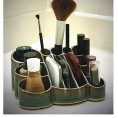 pottery makeup organizer jade glaze