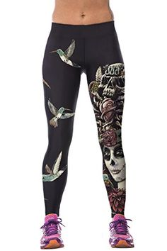 Women's Athletic Leggings - Timemory Womens 3d Digital Printed Leggings Cartoon Stretch Tights One Size * More info could be found at the image url. (This is an Amazon affiliate link)