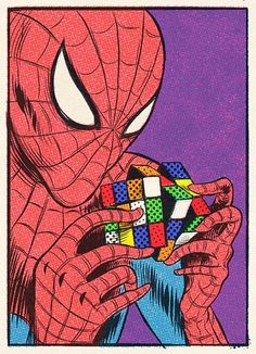 . Spiderman is playing with a Rubik cube by S9TXE