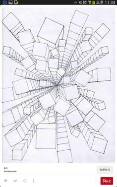 Zentangle with perspective One Point Perspective, Perspective Art, Linear Perspective Drawing, Middle School Art, Art School, High School, 6th Grade Art, School Art Projects, Elements Of Art