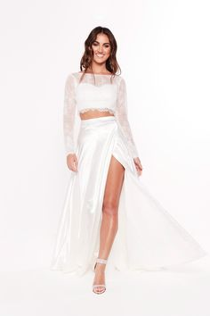 A&N Katerina - White Two Piece Gown with Long Sleeve Crop & Side Slit Silk Satin Dress, Satin Dresses, Dresses With Sleeves, Prom Dresses Long Open Back, Short Dresses, Gold Mermaid Prom Dresses, Two Piece Bridesmaid Dresses, Two Piece Gown, Blue Evening Gowns
