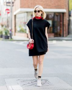 Accessorize an LBD with a neckerchief and ankle socks.