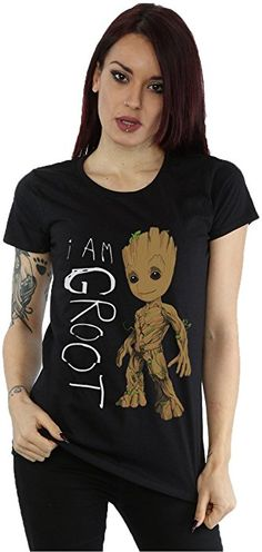 T-Shirt Guardians of The Galaxy Donna Groot Heart Marvel Cotton White