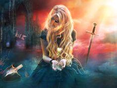 Fantasy Women  Fantasy Woman Girl Blonde Sword Flower Magic Wallpaper