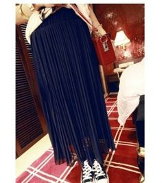 Casual Style Solid Color Chiffon Pleated Skirt For Women Long Chiffon Skirt, Pleated Skirt, Sammy Dress, Mini Skirts, Pure Products, Deep Blue, Casual, Clothes, Dresses