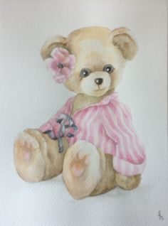 Baby Painting, Tole Painting, Painting For Kids, Fabric Painting, Bear Paintings, Bear Drawing, Baby Clip Art, Love Bear, Cute Teddy Bears