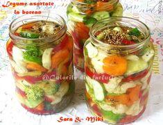 » Legume asortate la borcanCulorile din Farfurie Pickles, Cucumber, Mason Jars, Vegetables, Food, Canning, Essen, Mason Jar, Vegetable Recipes