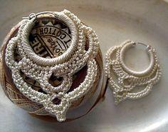 Earrings Sterling Silver Hoops Crocheted in Pearl Ivory