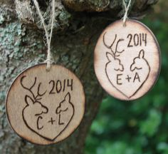 Christmas Ornament Rustic Buck Doe Deer 2014 Personalized Woodburned Engraved Wood Rustic Country Weddings
