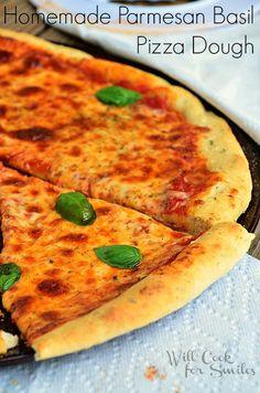Homemade-Parmesan-Basil-Pizza-Dough 4 willcookforsmiles.com