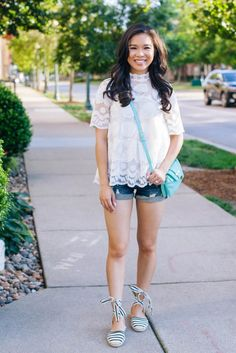 Lemon lace top that can be dressed up and down.  Perfect for work and weekends.  Pair with dress pants, distressed shorts or even a colored skirt for a feminine flirty look.