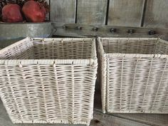 Pair White Wicker Baskets // White Square Wicker Baskets // Storage, Shelf, Bathroom Baskets // Shabby, Urban, Modern, Farmhouse Home Decor