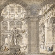Giovanni Paolo Pannini, View of the courtyard of the Palazzo Farnese with the statue of Hercules, seen from behind and through an archway, and several figures, Pen and black and gray ink and wash and watercolor, heightened with white.  Drawn on two joined sheets. A pentimento in the lower right corner, where Panini has added the two figures conversing; bears old attribution in pen and brown ink on the backing: j.p.panini 419 by 417 mm; 16 1/2  by 16 7/16  in, Sotheby's.