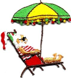 "[Single Count] Custom and Unique (2"" x 2 1/4"" Inches) Seasonal Holiday Festive Xmas Christmas Sun Tanning Santa Clause Iron On Embroidered Applique Patch {Yellow, Green, Red & Brown Colors"