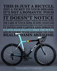 Riding a bike is truly poetry in motion...