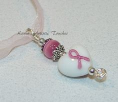 Breast Cancer Awareness Pink Ribbon White Heart by ArtisticTouches, $10.00