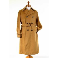 Double breasted long Loden wool mens camel overcoat / coat.