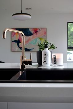 Black and white kitchen inspiration. Check out loads of photos from Gina's kitchen including matte black sink, copper tap, marble splashback and black cabinetry. She shares the design highlights and info on all the products >> Farmhouse Style Kitchen, Modern Farmhouse Kitchens, Black Kitchens, Cool Kitchens, Kitchen Black, Teal Kitchen, Copper Taps, Gold Taps, Brass Faucet
