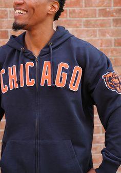 '47 Chicago Bears Mens Navy Blue Striker Long Sleeve Zip Fashion - Image 3 Chicago Bears T Shirts, Nfl Chicago Bears, Bear T Shirt, Fashion Images, A Team, Shell, Navy Blue, Zip, Sweatshirts