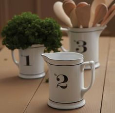 Numerology Porcelain Numbered Pitchers- Set of 3 by Two's Company