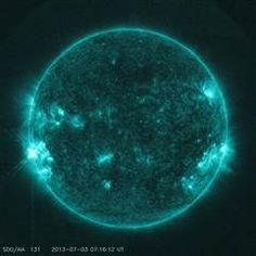 Sun gets jump on fireworks with July 3 solar flare eruption. The solar flare erupted at about 3 a.m. EDT &  produced an M1.5-class solar flare. M-class solar flares are medium-strength solar storms that can supercharge Earth's northern lights displays when they are aimed at Earth. NASA officials reported that the July 3 solar flare erupted from a point just over the eastern side, or limb, of the sun, so it was not directed at our planet.